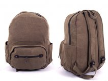 2615 BROWN Canvas Backpack wit 3 zips & 2 side pockets