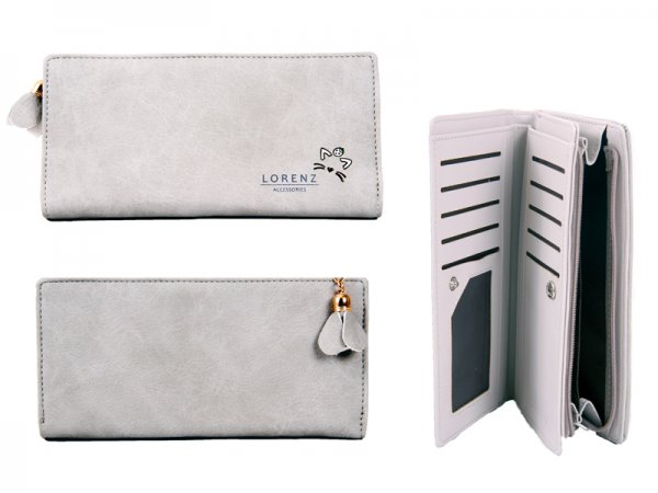 7142 GREY Large PU Purse with Cat Features