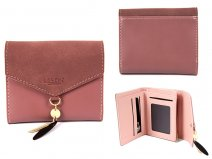 7144 DUSTY PINK SMALL ENVELOPE STYLE FLAPOVER PURSE RFID CHAR