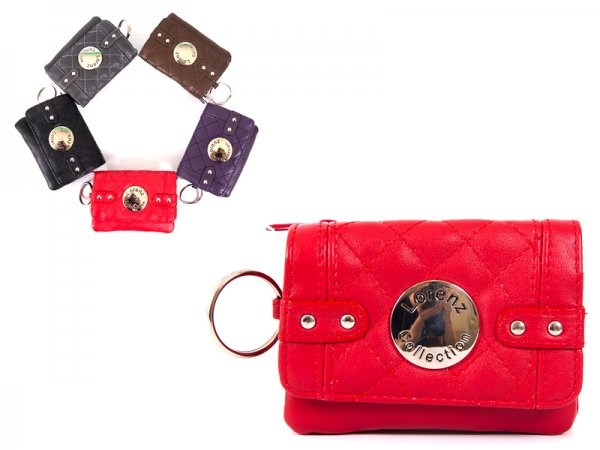 7550 Red Smll Smth PU Purse wt Zips, Flap,Keyring