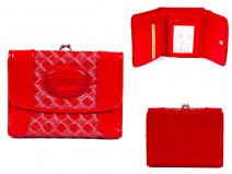 7439 RED 11CM PATENT INTERWEAVE PVC PURSE WITH ZIP