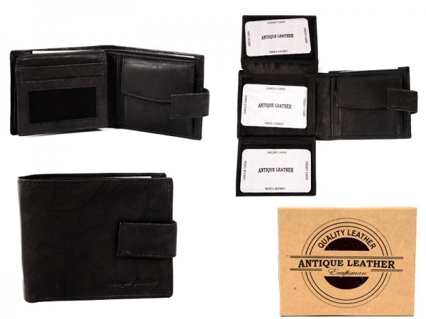 1063 BLACK ANTIQUE LEATHER RFID WALLET