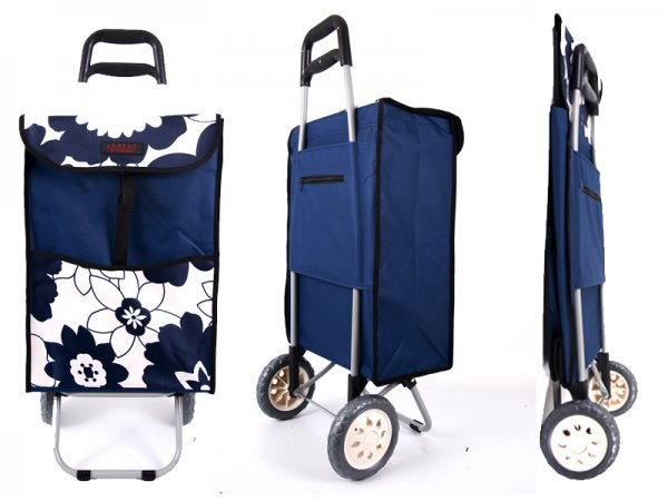 6961 NAVY LARGE FLOWERS 2 Wheel Shopping Trolley