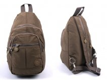 2526 TAUPE CRINKLED NYLON BACKPACK WITH 4 ZIPS